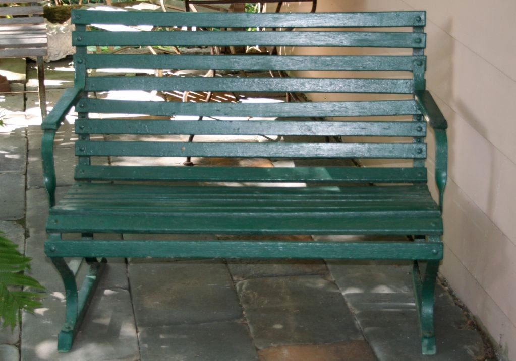 Small Green Garden Bench 7