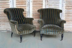 Pair of 19th C Chairs in Striped Velvet