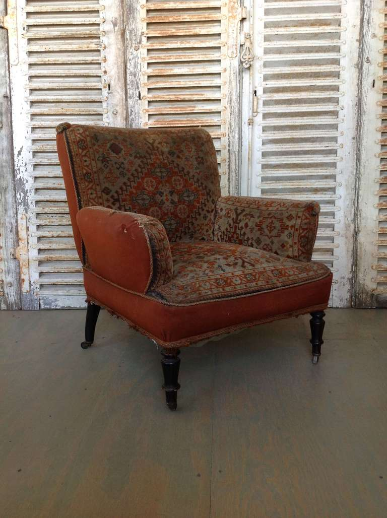19th century Napoleon III armchair, tapestry fabric. Sold as is.