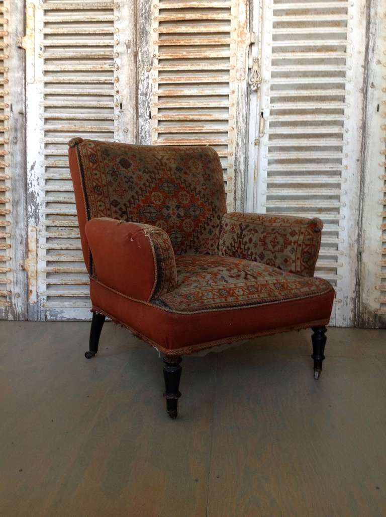 French 19th Century Napoleon III Armchair in Vintage Tapestry Fabric For Sale