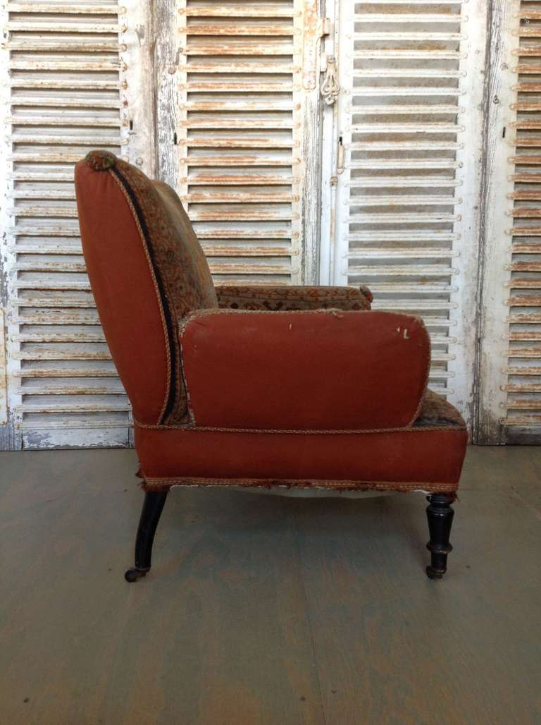 19th Century Napoleon III Armchair in Vintage Tapestry Fabric In Good Condition For Sale In Long Island City, NY