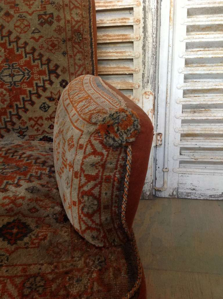19th Century Napoleon III Armchair in Vintage Tapestry Fabric For Sale 4