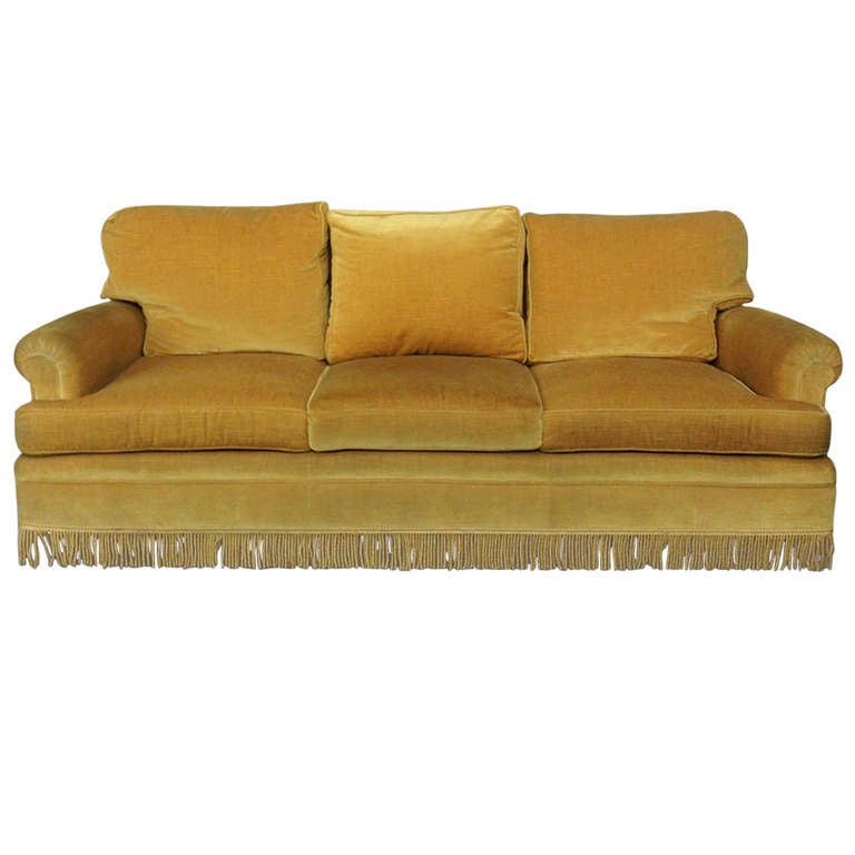 Gold velvet sofa with fringe at 1stdibs for Gold velvet sectional sofa
