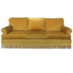 Gold Velvet Sofa with Fringe