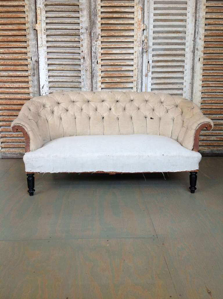 large french 19th century tufted sofa with rolled arms and back 2