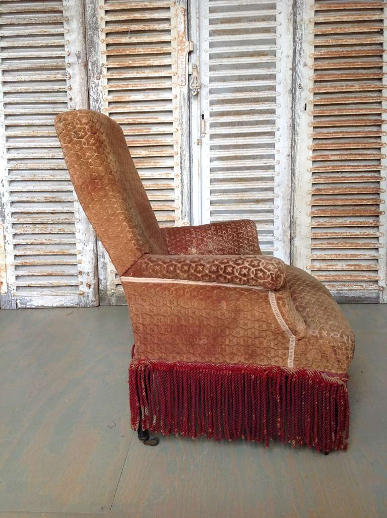 Napoleon Iii Armchair In Faded Rust Colored Velvet At 1stdibs