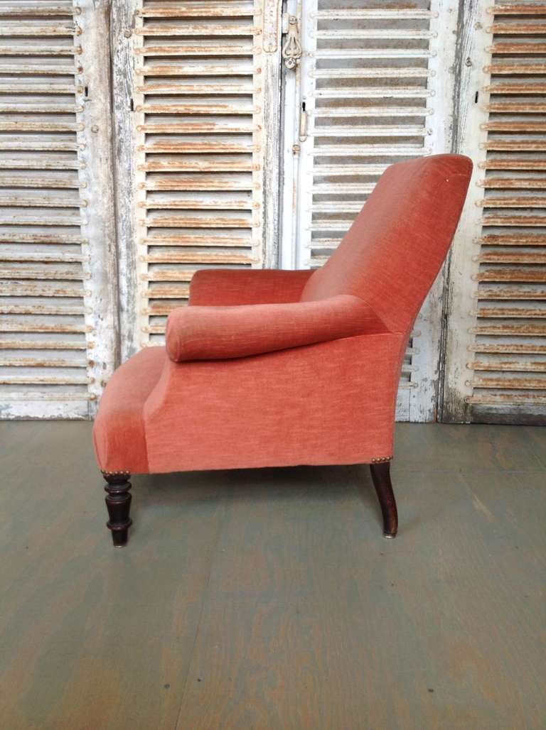 French Armchair In Salmon Colored Velvet At 1stdibs