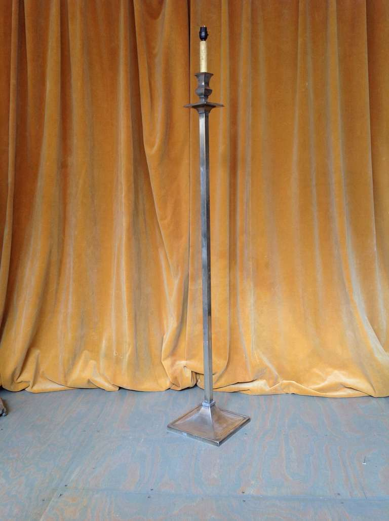 French 1950s Mid-Century Modern Nickel-Plated Floor Lamp For Sale 1
