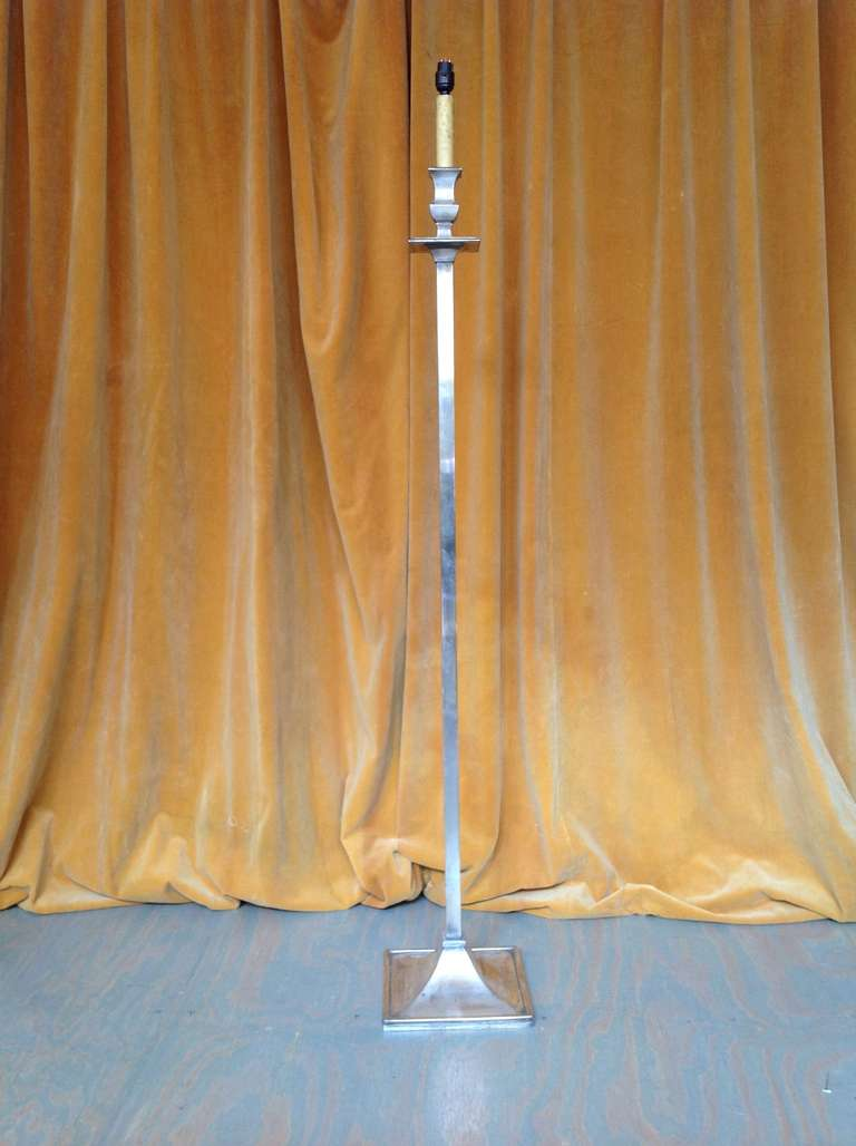 French 1950s Mid-Century Modern Nickel-Plated Floor Lamp For Sale 2