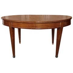 French 1940s Mahogany Oval Dining Table