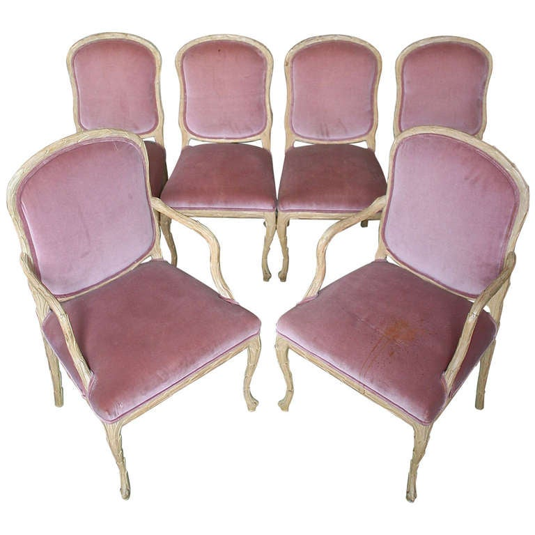 Set of Six Hand-Carved American 1960s Dining Chairs
