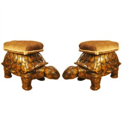 Exceptional Pair of Tortoise Pouf / Stools