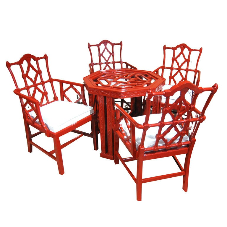Elegant lacquered chinese chippendale style table and for Asian style dining table and chairs