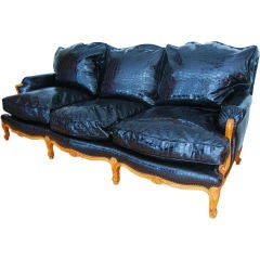 Exceptional Faux Croc! Lxv Style French Sofa, Black