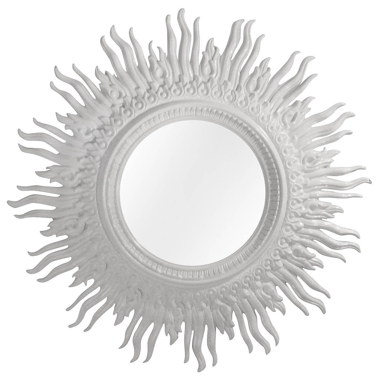 White Gloss Vintage Sunburst Mirror At 1stdibs