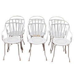 Set of Six Wrought Iron Outdoor Dining Chairs