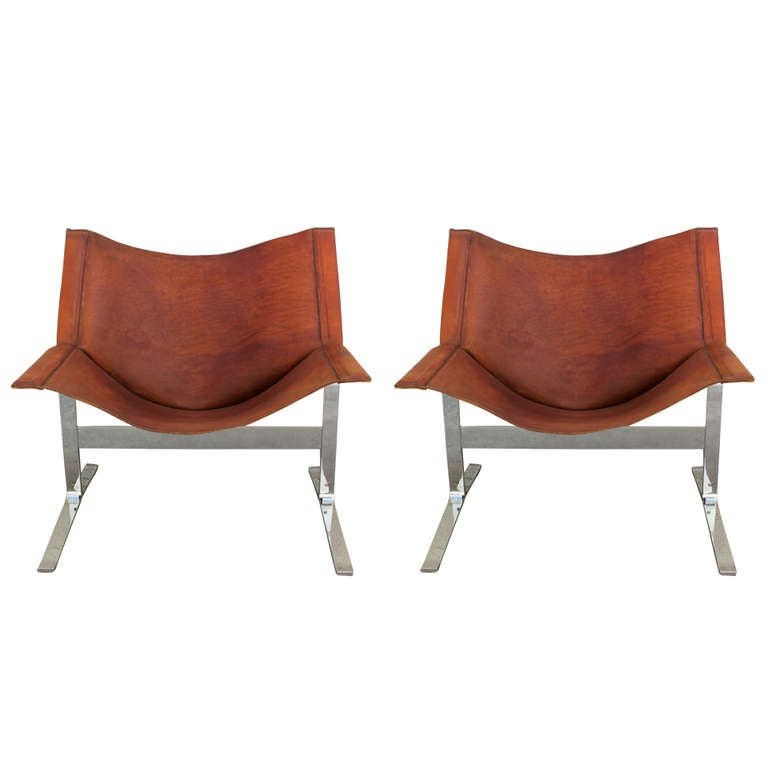 pair of clement meadmore saddle leather sling chairs 1
