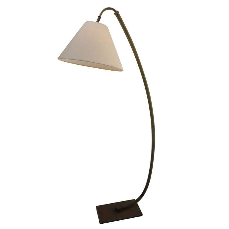 this modernist brass floor arc lamp is no longer available. Black Bedroom Furniture Sets. Home Design Ideas