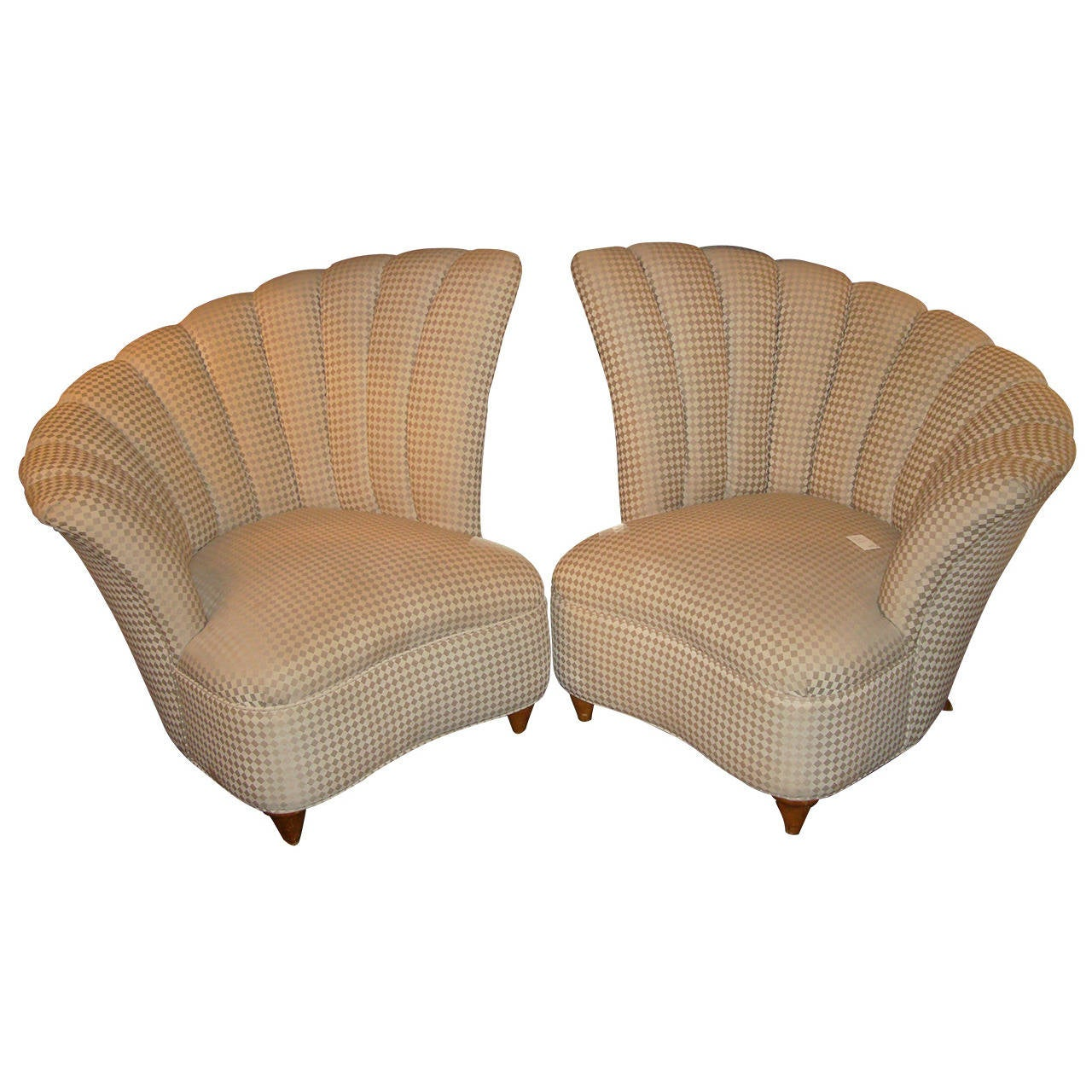 Hollywood Fan Back Upholstered Chairs At 1stdibs