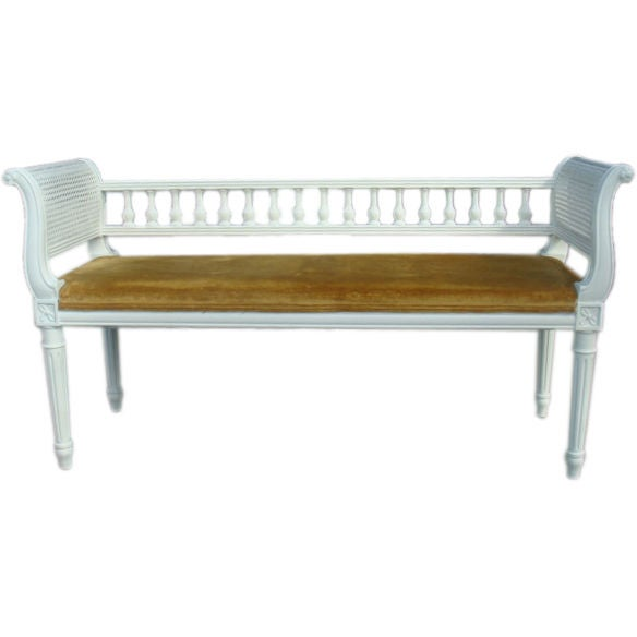 Long carved cane restored upholstered bench at 1stdibs Long upholstered bench