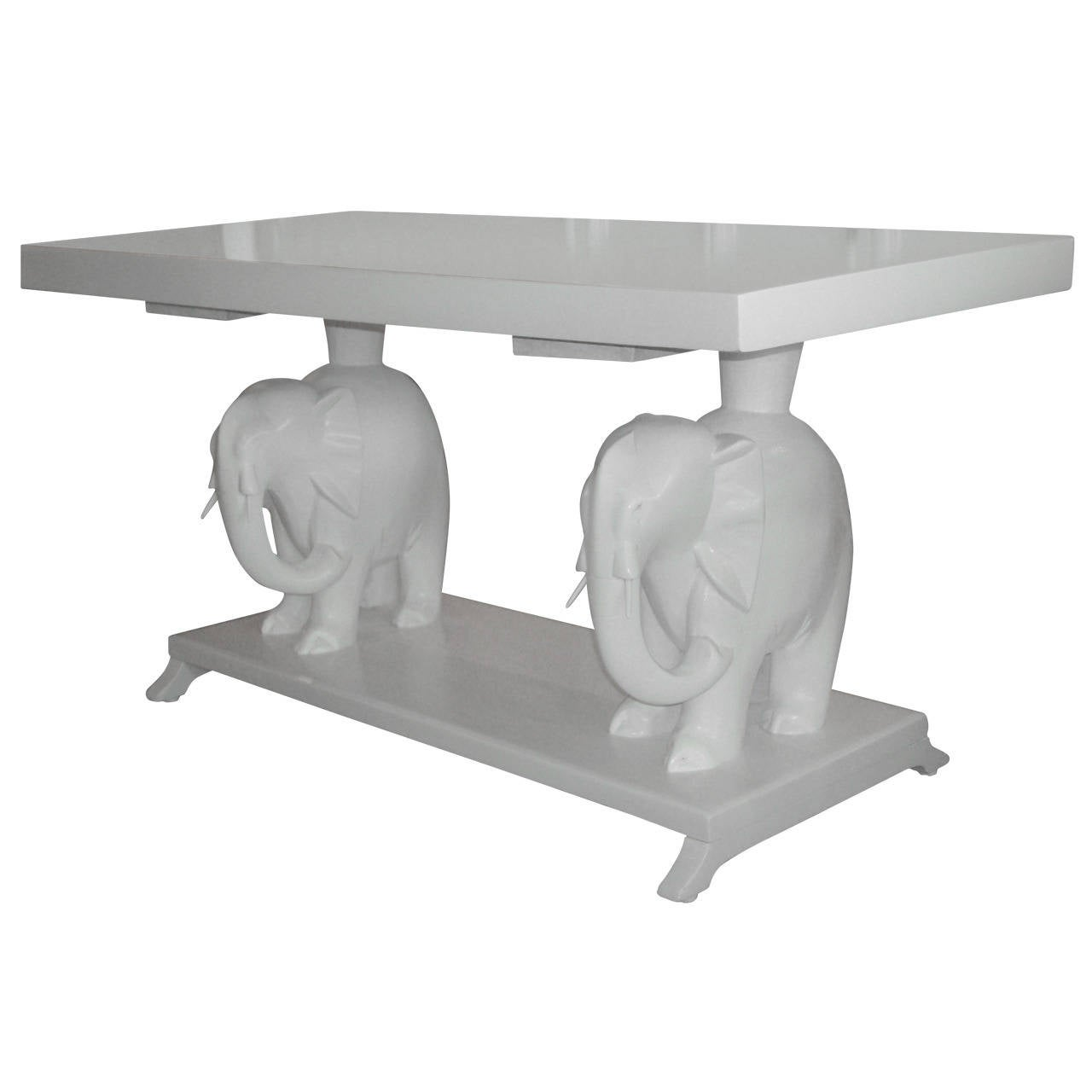 Lacquered white elephant table at 1stdibs Elephant coffee table