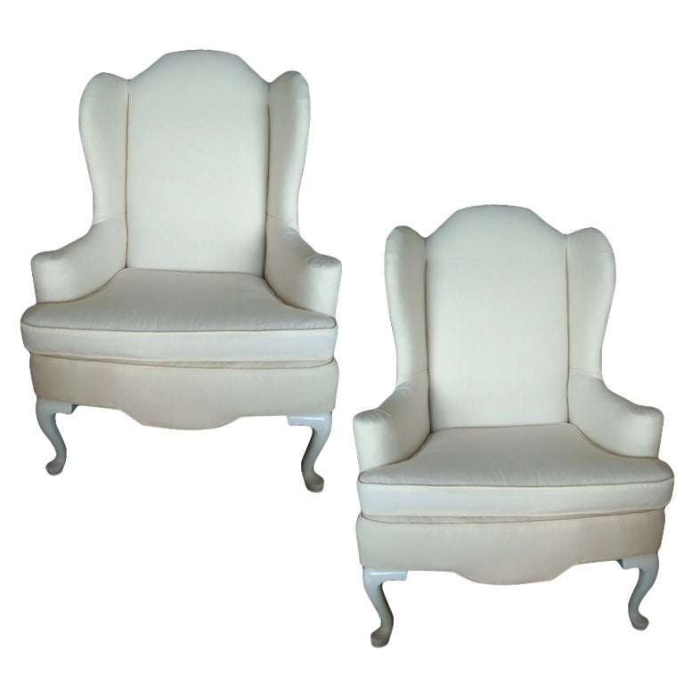 Antique queen anne wing chair - Pair Of Vintage Reupholstered Wing Chairs At 1stdibs