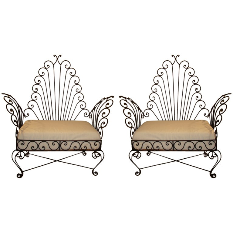 Pair of vintage wrought iron chairs at 1stdibs