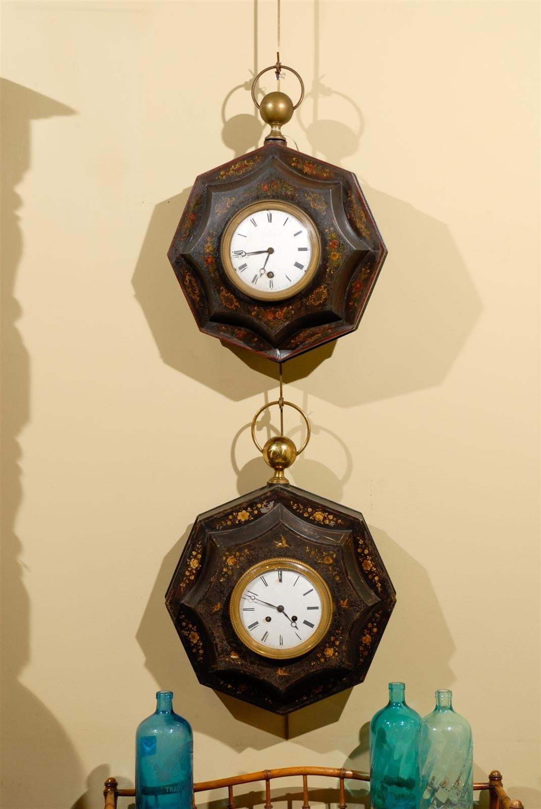 Two 19th Century Directoire Style Painted Tole Clocks, Circa 1820 ...