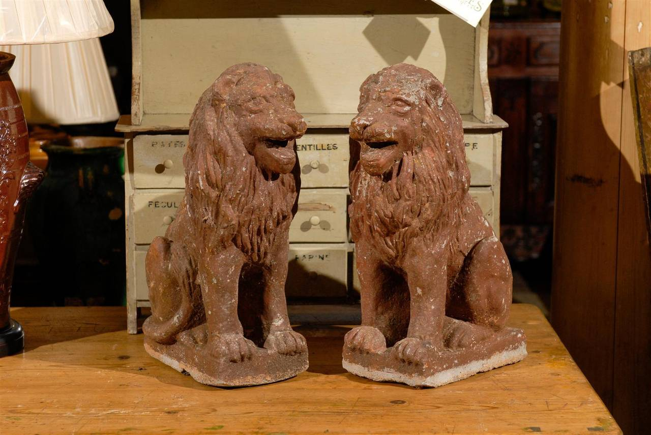 Pair of Early 20th Century Old Stone Lions from France, Circa 1910 If you have a secret garden, perhaps you need a pair of lions to guard the entrance.  If not, there are many other fun uses for this happy pair either inside or outside.