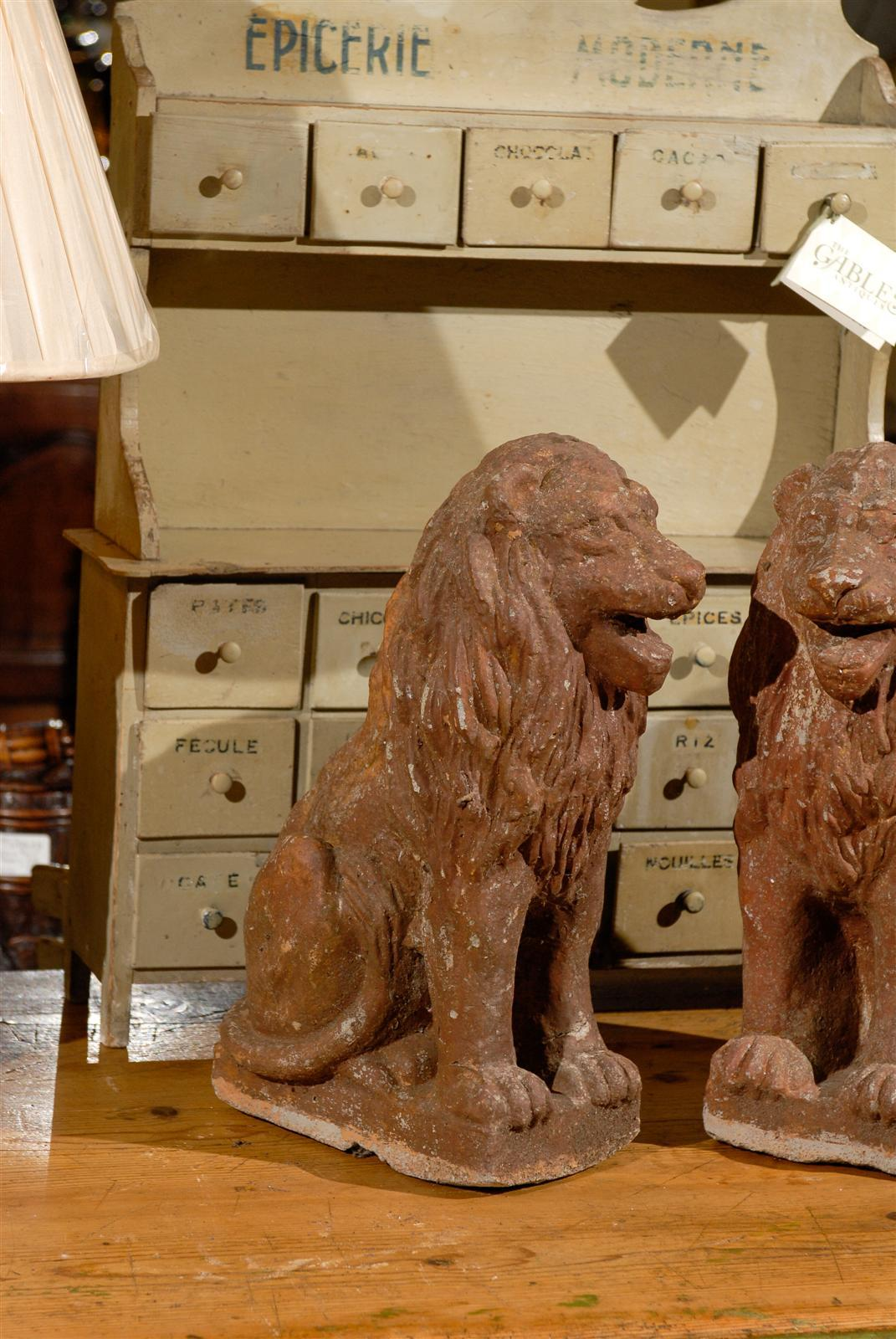 Pair of Early 20th Century Old Stone Lions from France, Circa 1910 For Sale 2