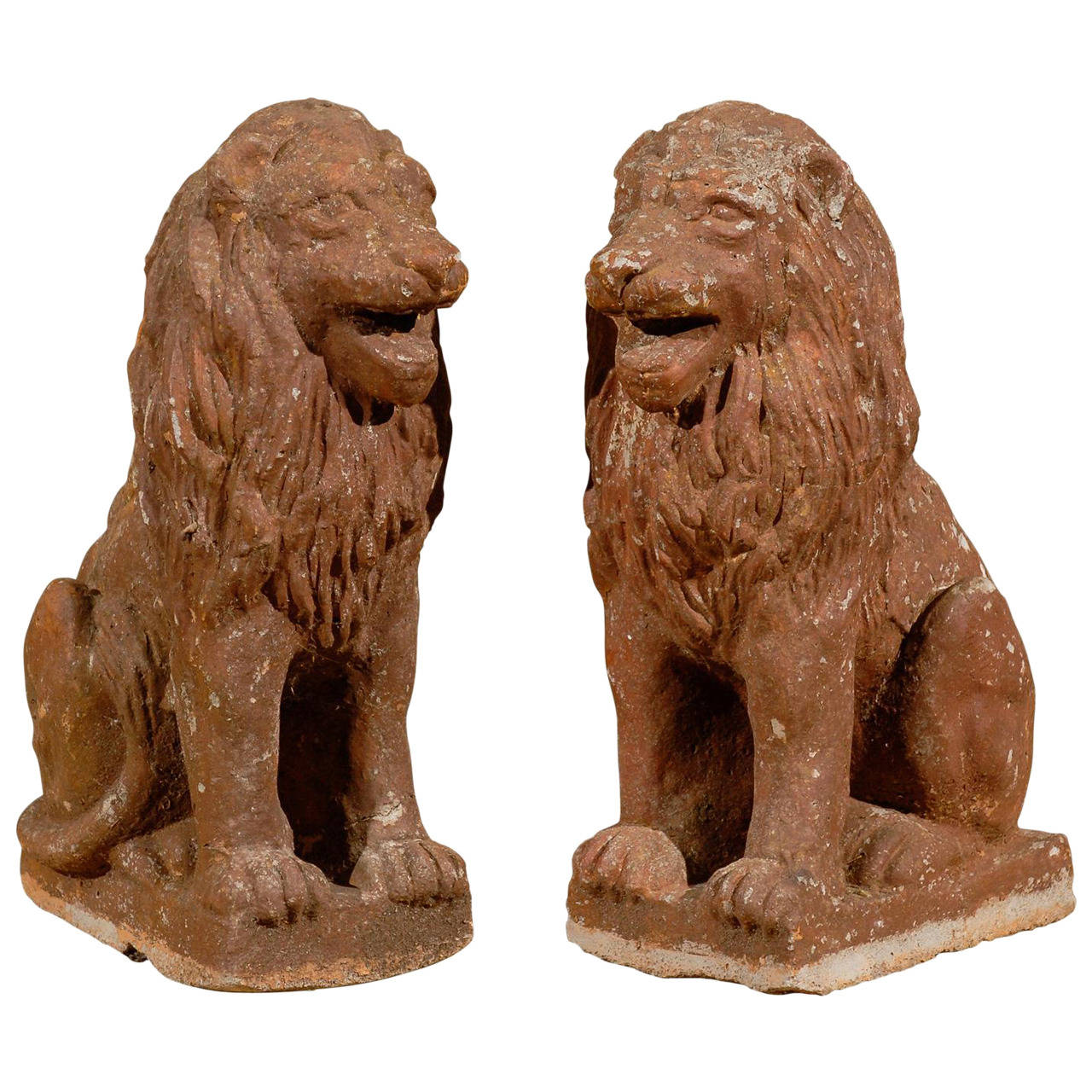 Pair of Early 20th Century Old Stone Lions from France, Circa 1910