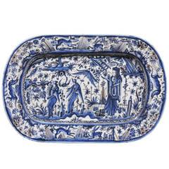 19th Century Blue and White  Italian Faience Platter, Circa 1895