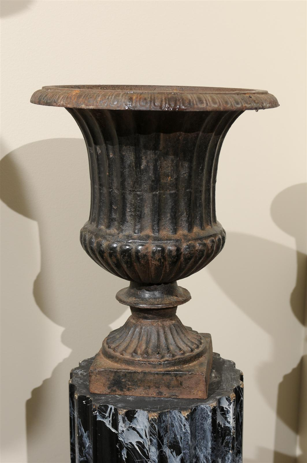 Pair of 19th Century Iron Urns from France For Sale 2
