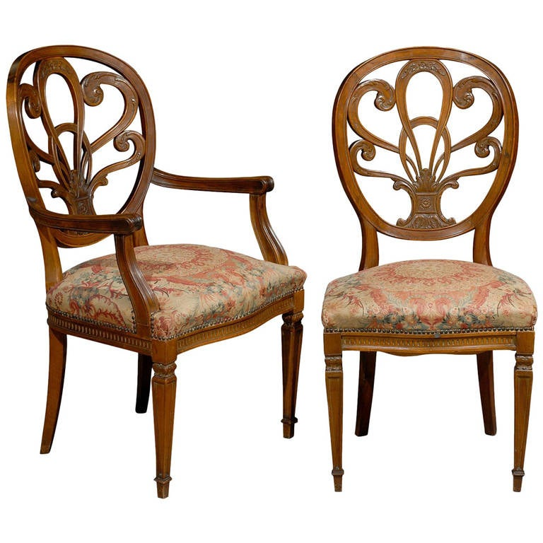 19th Century Set Of Italian Dining Chairs For
