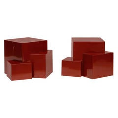 Philippe Cheverny Pair of Red Side Tables, circa 1970