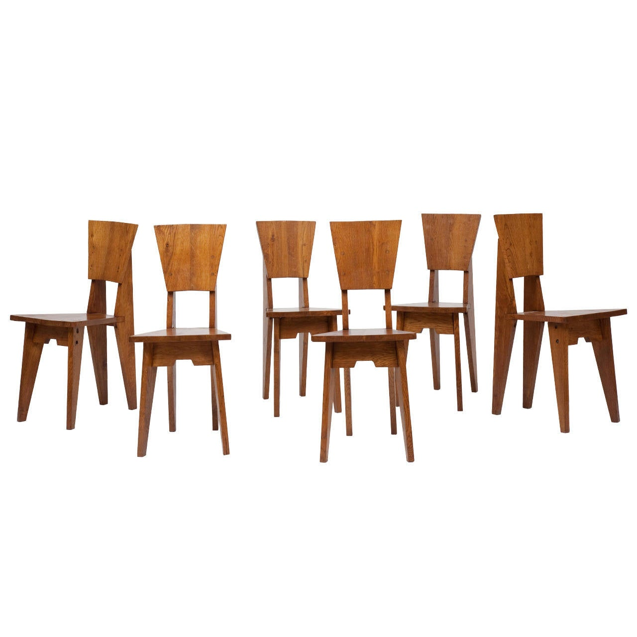 Jean René Caillette, Set Of Six Wooden Chairs, Circa 1950 1
