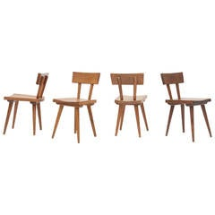 Atelier Marolles Set of Four Chairs, circa 1950