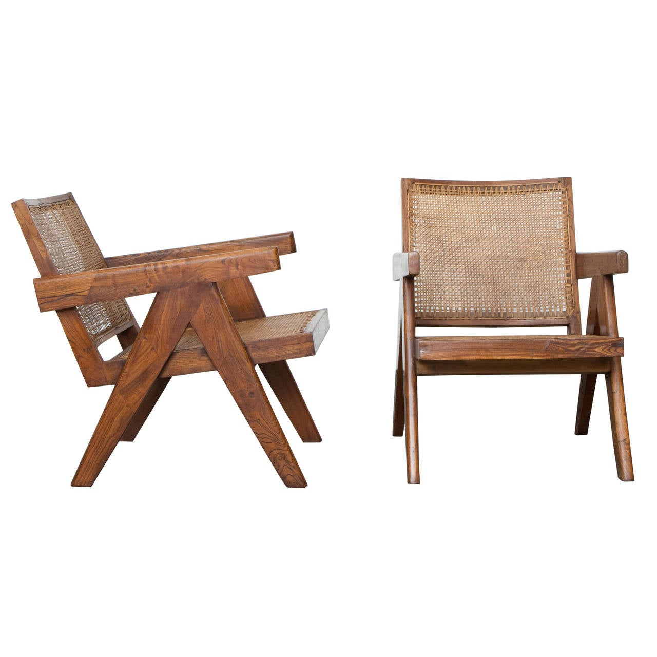 Pierre Jeanneret Pair of Lounge Chairs, circa 1955 For Sale
