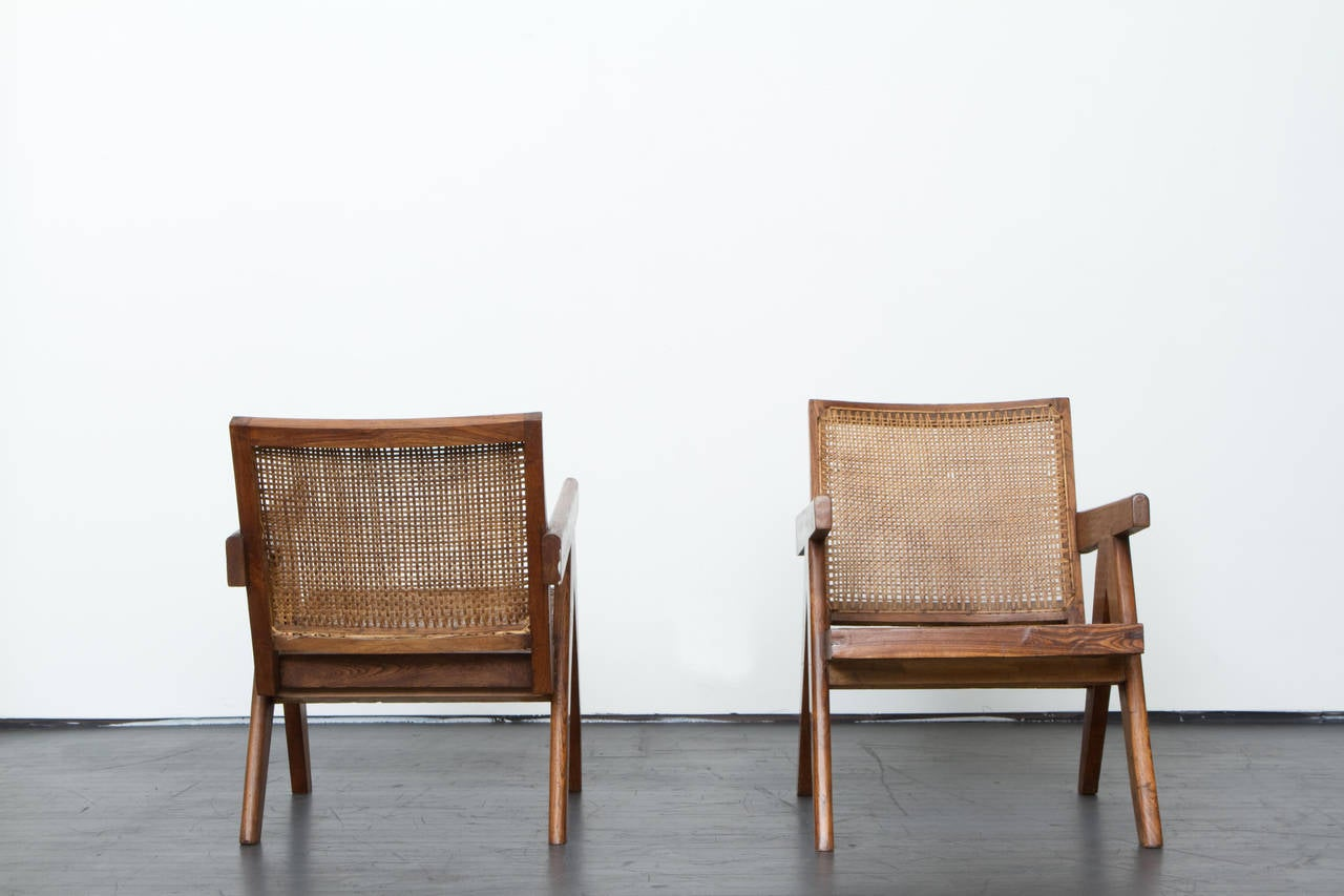 Bleached Pierre Jeanneret Pair of Lounge Chairs, circa 1955 For Sale