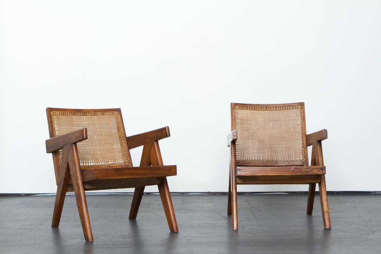 Pierre Jeanneret, pair of lounge chairs, circa 1955.