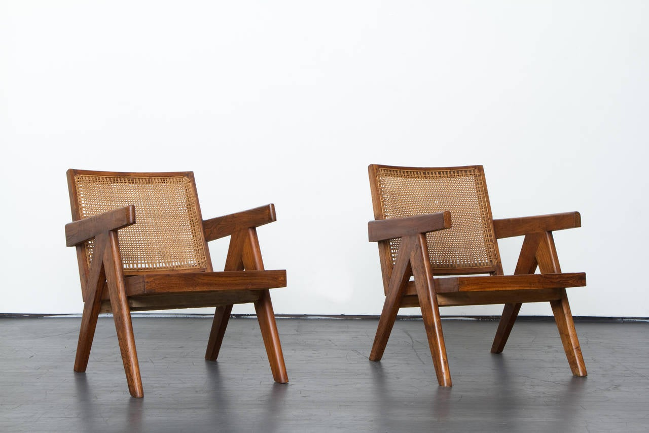 French Pierre Jeanneret Pair of Lounge Chairs, circa 1955 For Sale