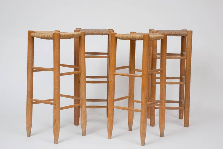 Charlotte Perriand Set Of 4 Bar Stools C 1950 At 1stdibs