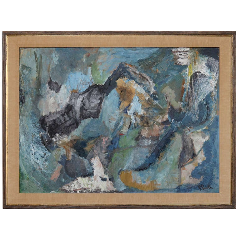 Framed Abstract Painting Signed Pawlan At 1stdibs