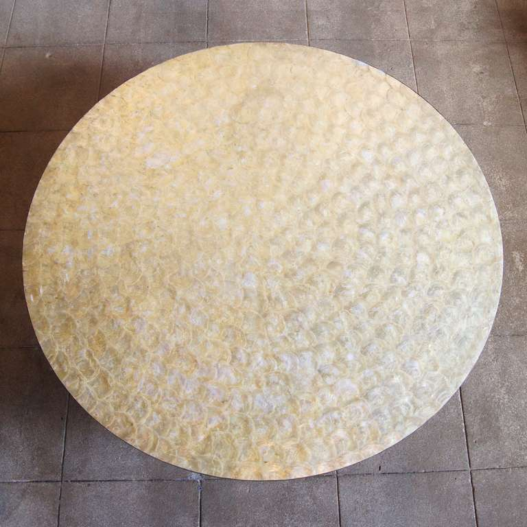 Round White Capiz Coffee Table: Capiz Shell Coffee Table At 1stdibs