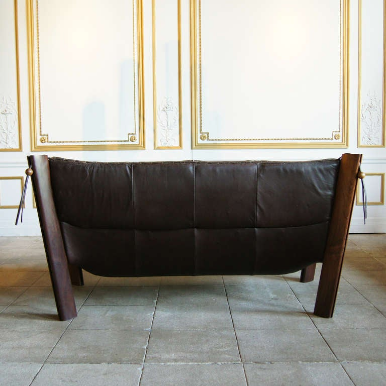 Leather Lounge Sofa by Percival Lafer, Brazil, Circa 1960 image 3