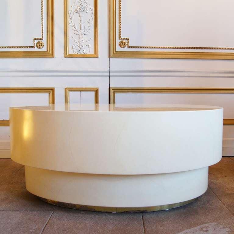 Cream Lacquered Kidney Shaped Coffee Table At 1stdibs