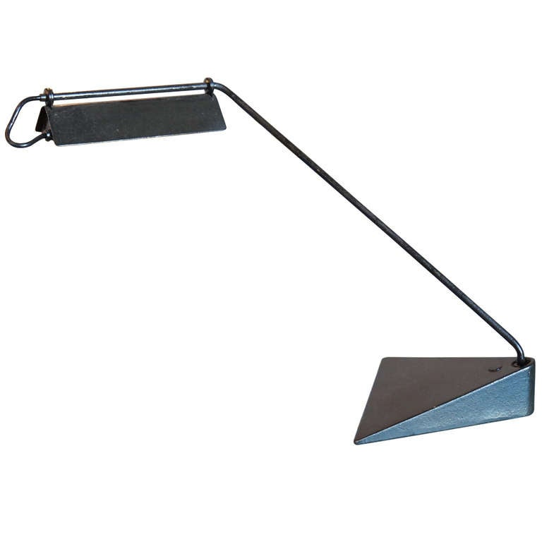 Black Enameled Iron Desk Lamp By Koch And Lowy Usa 1970s