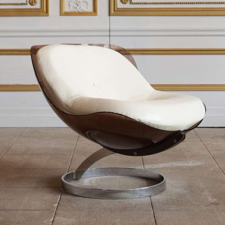 Plexiglass and Chrome Sphere Chair by Boris Tabacoff at