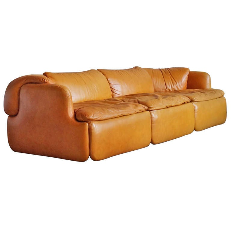 Leather confidential sofa by alberto rosselli for for Canape leather sofa