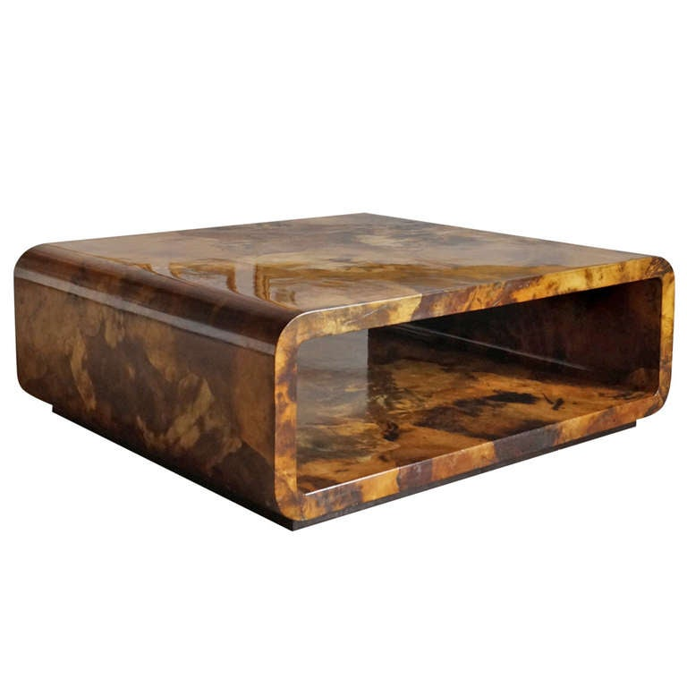 Lacquered Parchment Coffee Table By Karl Springer Usa 1970s At 1stdibs
